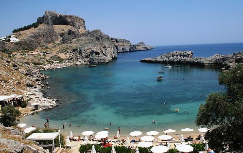 Playas en la isla de Rodas, Grecia
