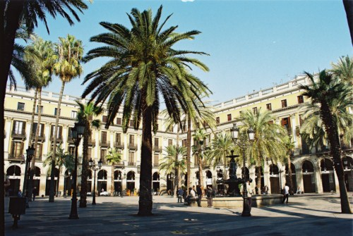 La Plaza Real en Barcelona