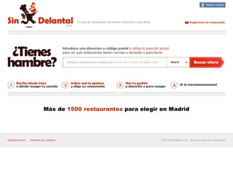 SinDelantal, web de restaurantes de comida a domicilio