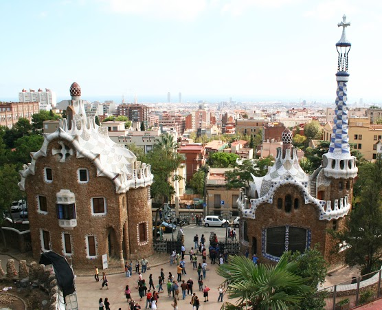 Spain. Barcelona city. Buildings by Gaudi in park of Gaudi
